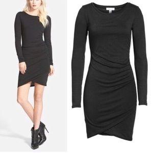 Tildon Ruched Black Long Sleeve Dress